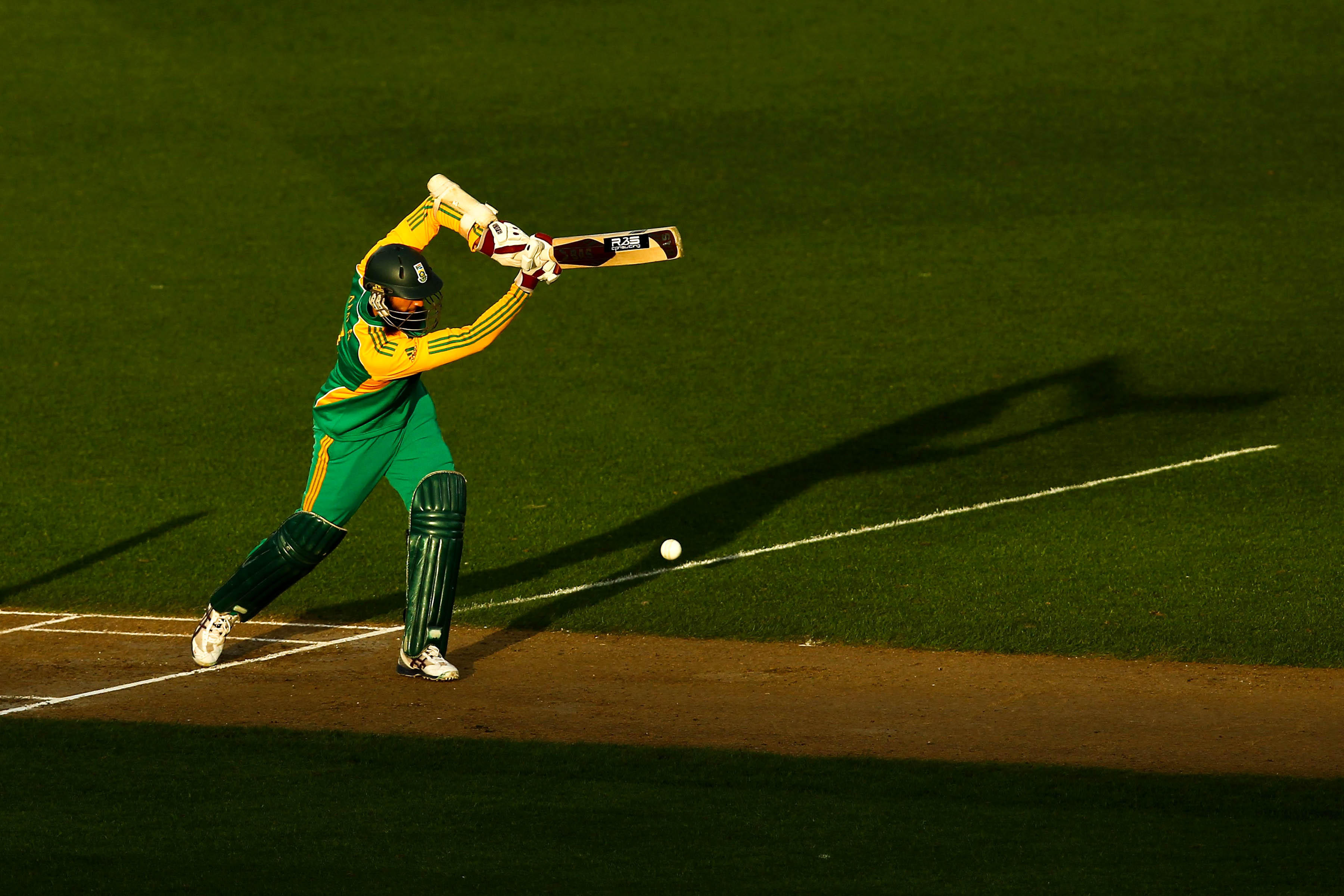 3 March 2012: Hashim Amla at the crease against the Black Caps at Eden Park in Auckland, New Zealand. He is the fastest player in the world to reach 2 000, 3 000, 4 000, 5 000, 6 000 and 7 000 one-day international runs. (Photograph by Phil Walter/Getty Images)