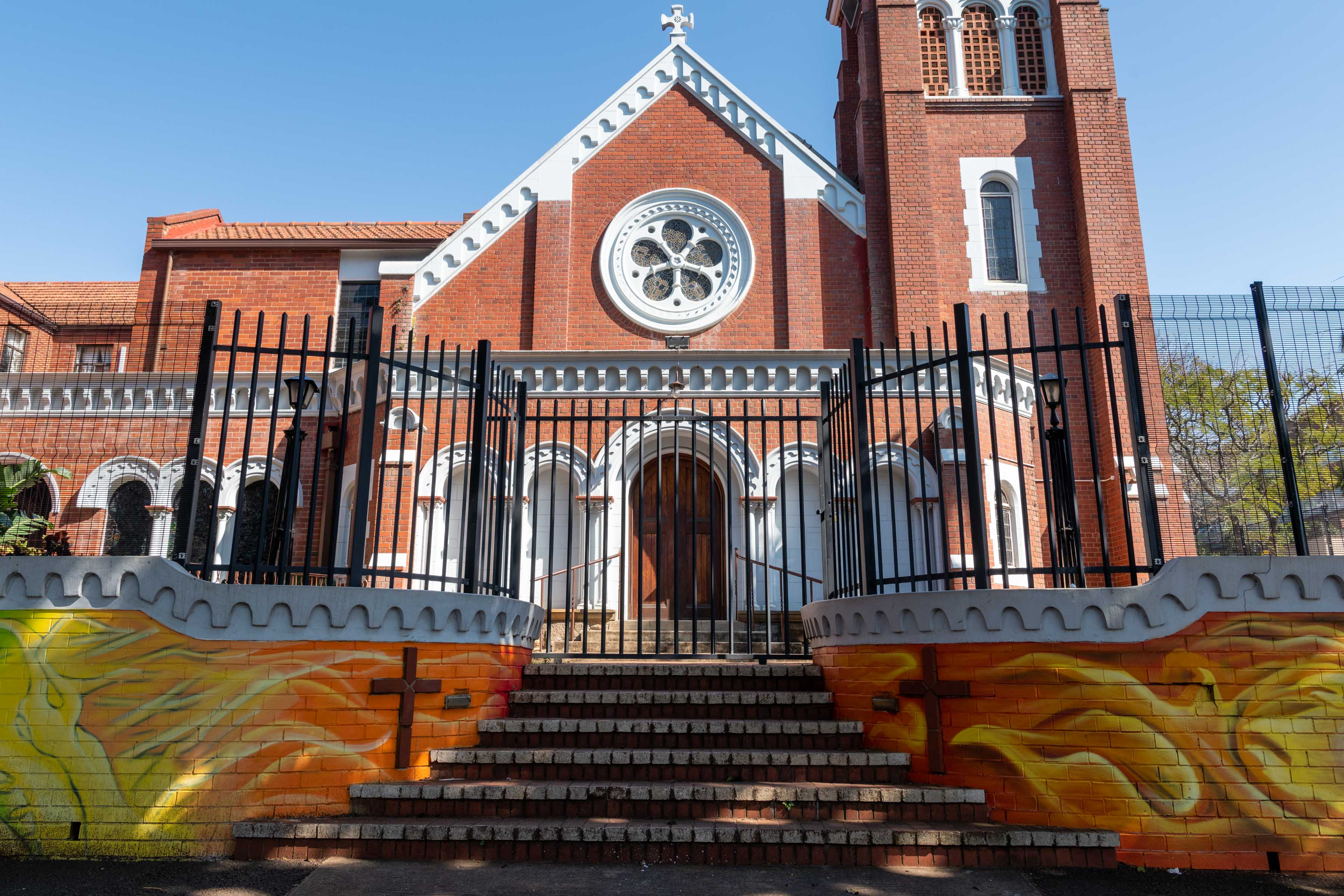 11 September 2019: The Manning Road Methodist Church in Durban, whose minister the Reverend Lauren Matthew has been criticised for commissioning a mural depicting the climate emergency to be painted on its boundary wall.