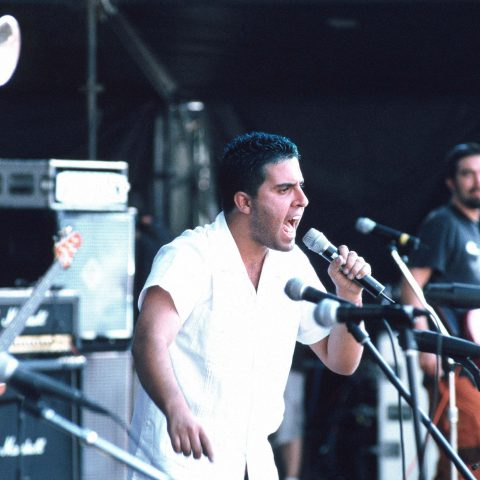 24 November 2001: Mexican ska punks Los de Abajo on stage. (Photograph by Jon Lusk/Redferns)