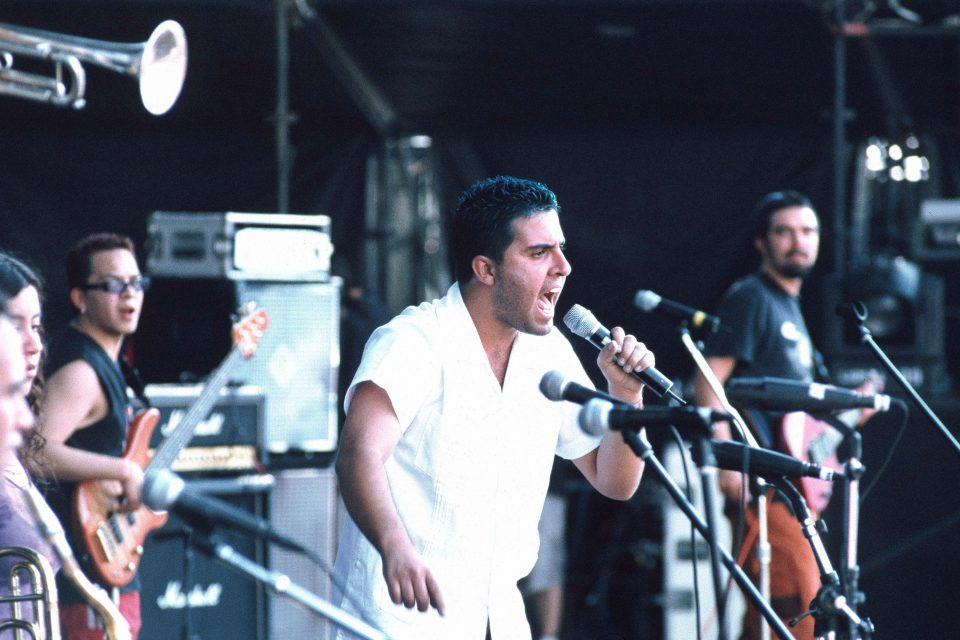 24 November 2001: Mexican ska punks Los de Abajo on stage. (Photograph by Jon Lusk/Redferns)