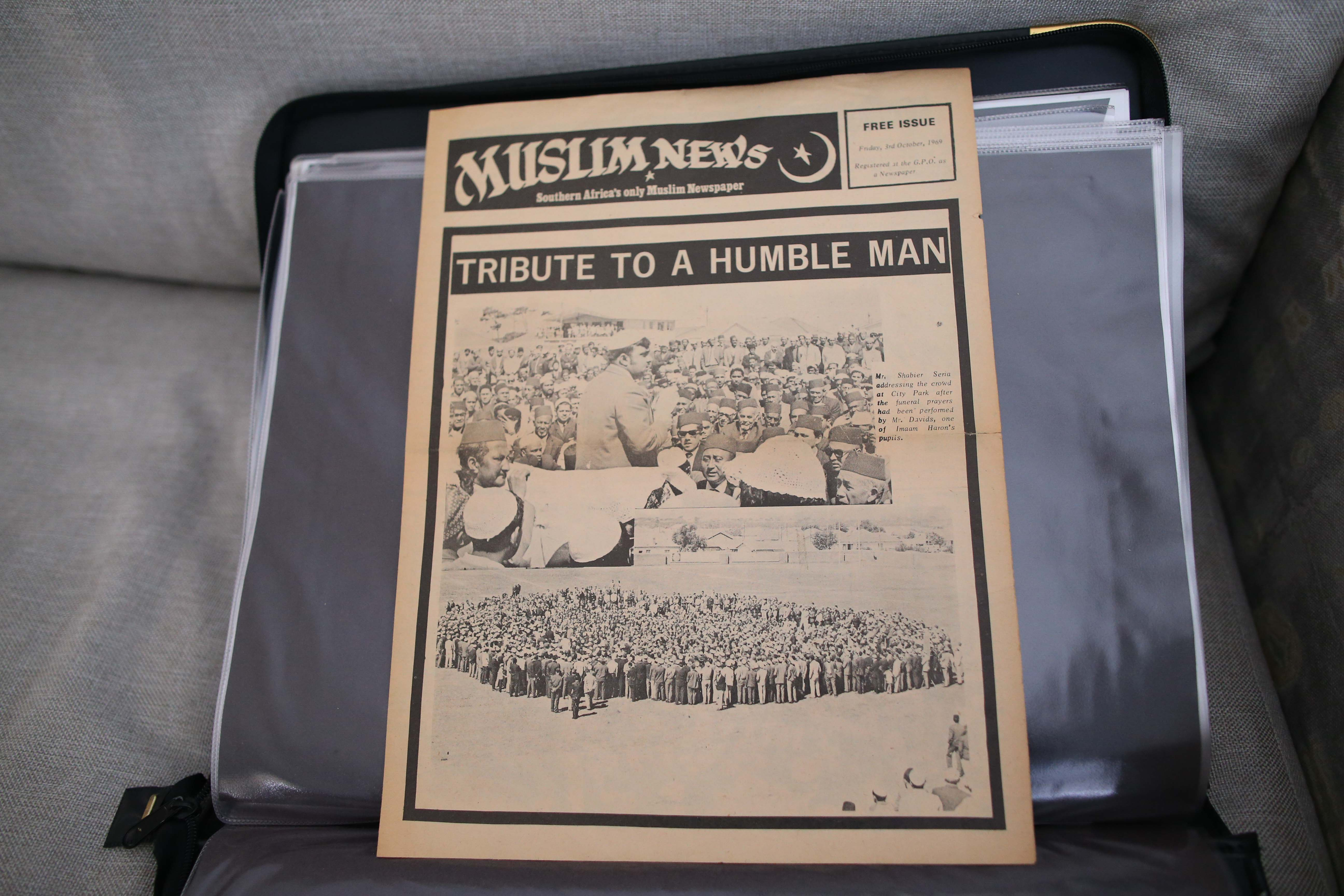 22 September 2019: The front page of the Muslim News with photographs of Imam Haron's funeral.