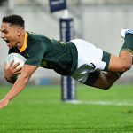 27 July 2019: Herschel Jantjies of the Springboks scores during the 2019 Rugby Championship Test between South Africa and New Zealand at Westpac Stadium in Wellington, New Zealand. (Photograph by Mark Tantrum/Getty Images)
