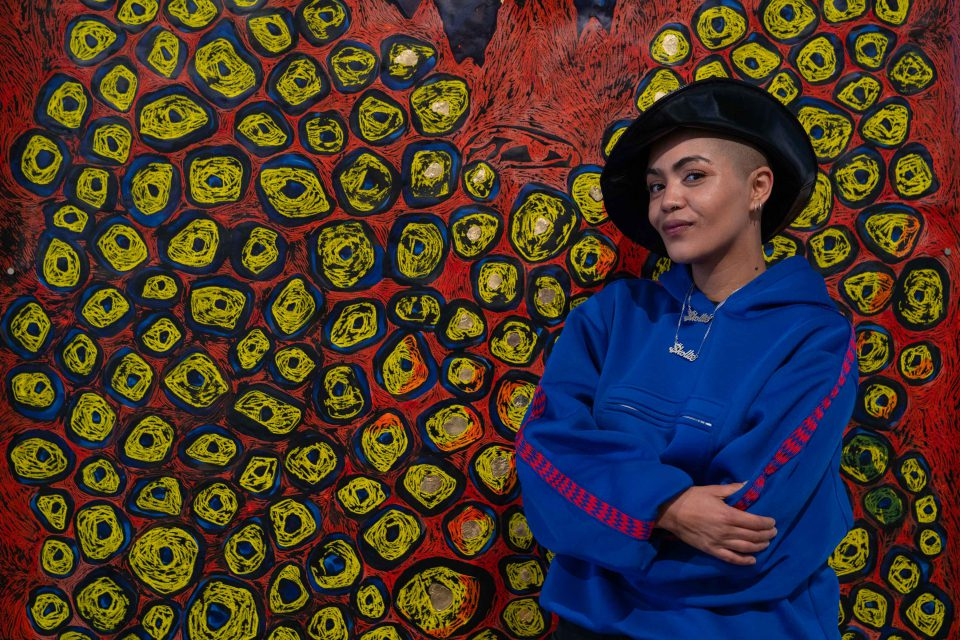 27 June 2019: Lady Skollie's use of vivid colour and flowing shapes has been praised by fellow artists who believe she represents a new form of artistic genius in South Africa. (Photograph by Ihsaan Haffejee)