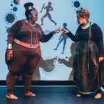 25 April 2019: Soprano Ann Masina with performer and poet Lebo Mashile in Venus vs Modernity, an essay on Sara Baartman. (Photographs supplied by the Market Theatre)