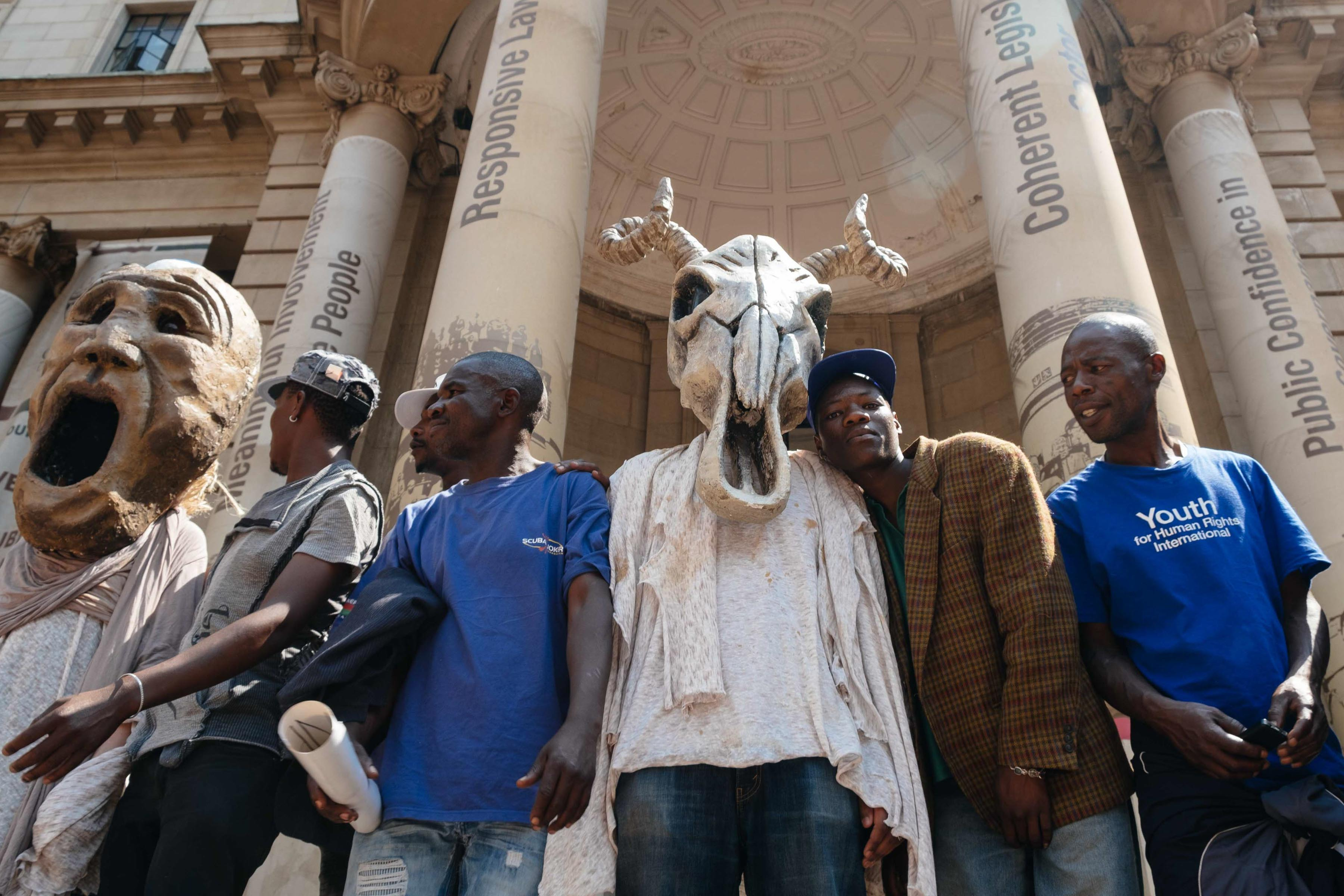 20 September 2019. Protesters at the entrance to the Gauteng Provincial Legislature in Johannesburg, part of the Climate Justice Action March organised by Earthlife Africa, on the same day as the Global Climate Strike and the UN General Assembly. (Photograph by James Puttick)