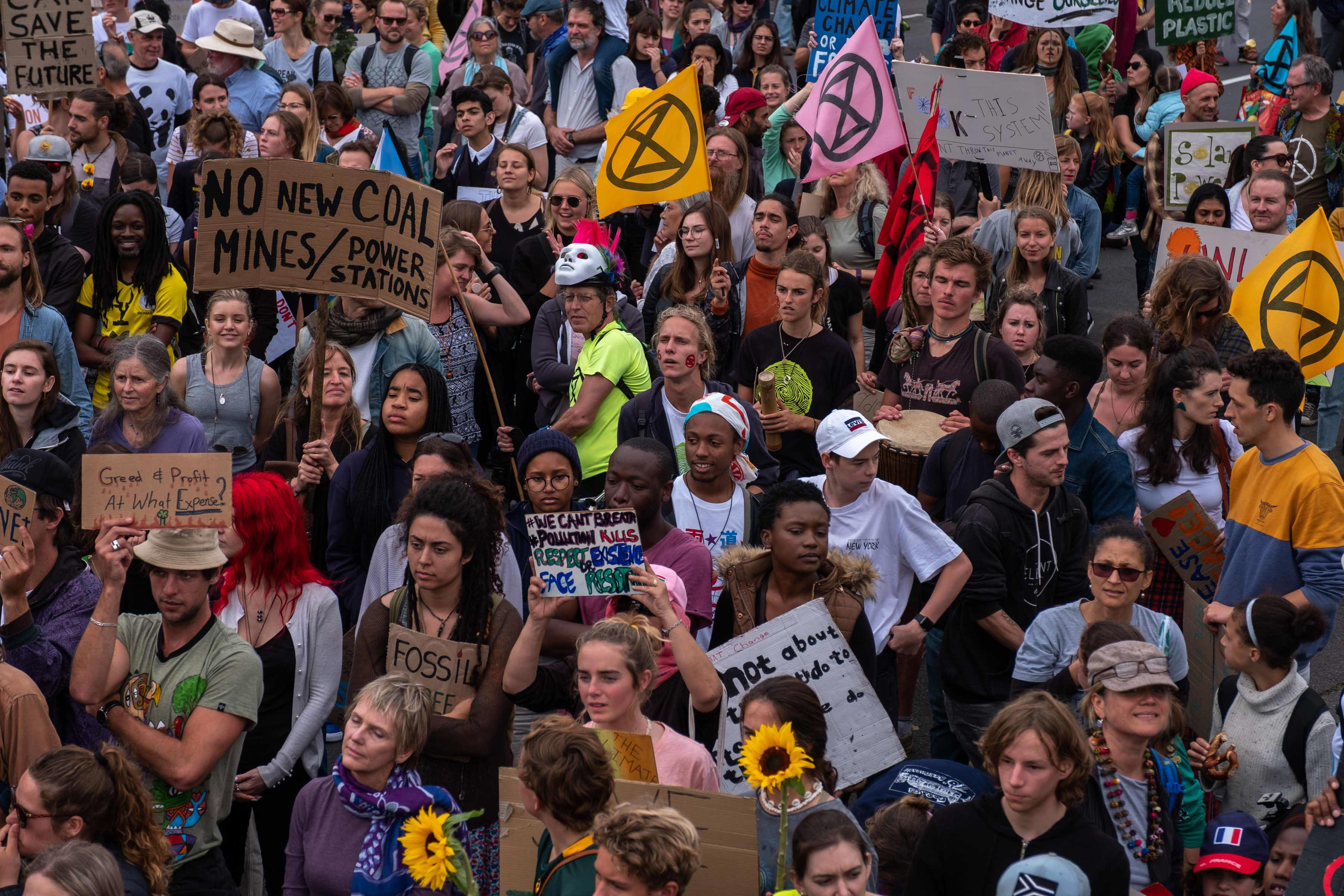 20 September 2019: The crowd of climate protesters outside the Parliament buildings in Cape Town. (Photograph by Barry Christianson).