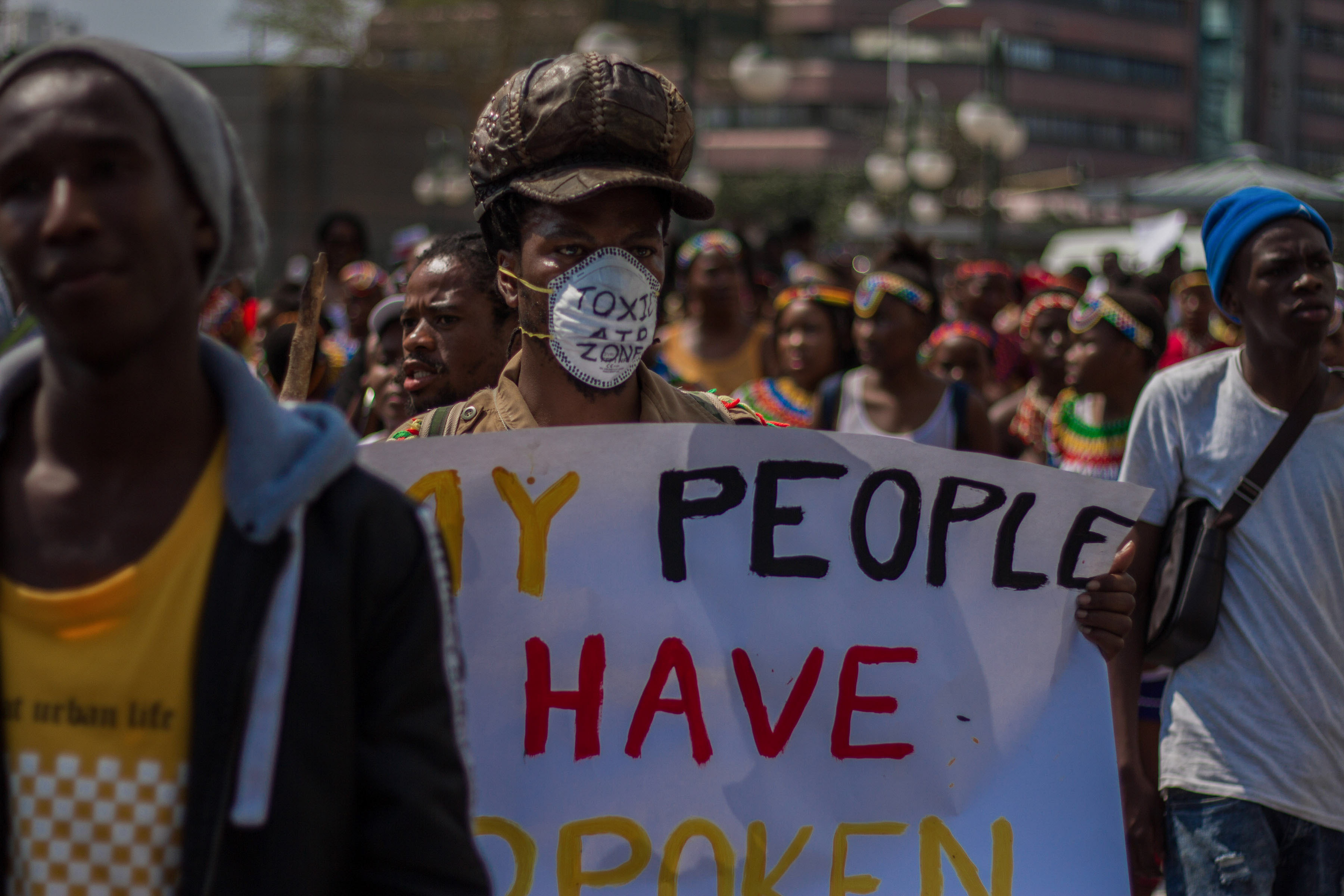 20 Septermber 2019: Crosby Hlongwane, 34, part of Climate Strike march that began outside Inkosi Albert Luthuli International Convention Centre in Durban and ended at Durban's City Hall. (Photograph by Mlungisi Mbele)