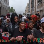 21 September 2019: Members of the Commercial, Stevedoring, Agricultural and Allied Workers Union making their way down Darling Street in Cape Town, South Africa, in protest against poor working and living conditions on farms.