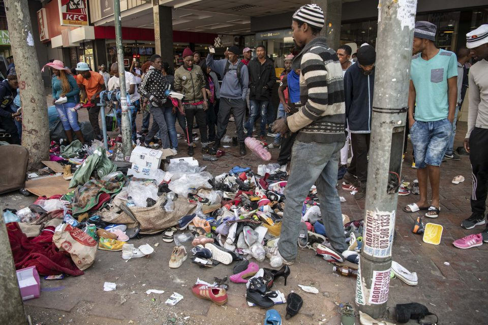 2 September 2019: Goods belonging to a street trader lie strewn across the sidewalk after a xenophobic mob rampaged through the Johannesburg CBD looting shops and attacking street traders as they went.