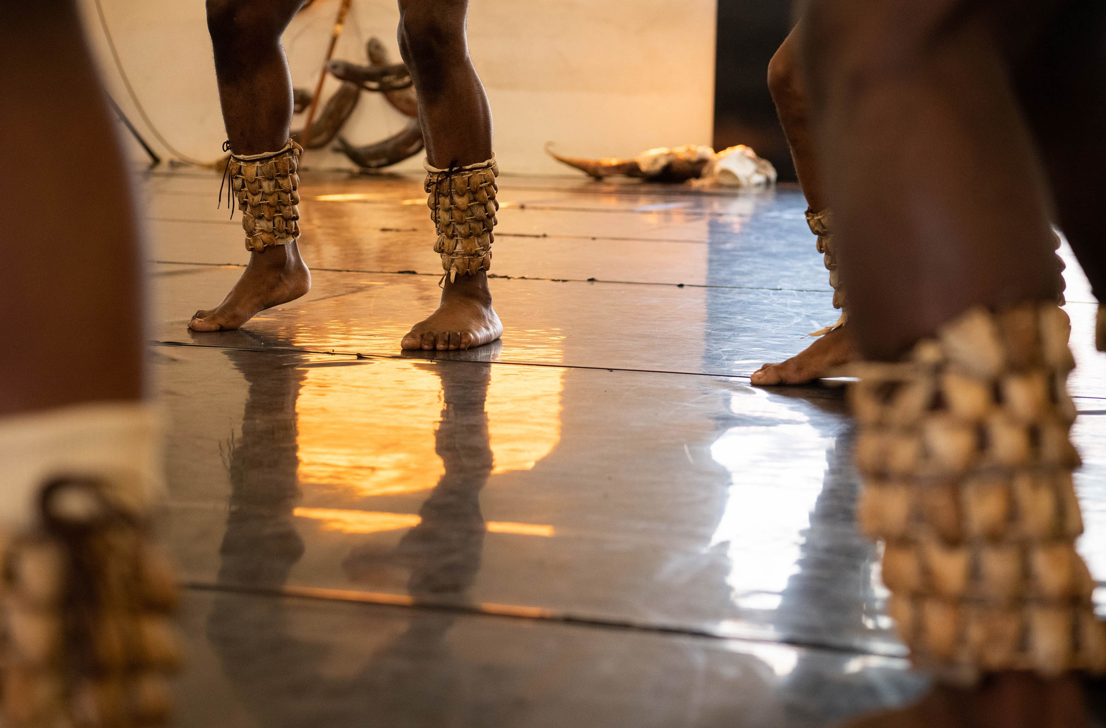 18 September 2019: The Tranceformation dancers wear rattles on their legs, which adds to the percussive sounds in the work.