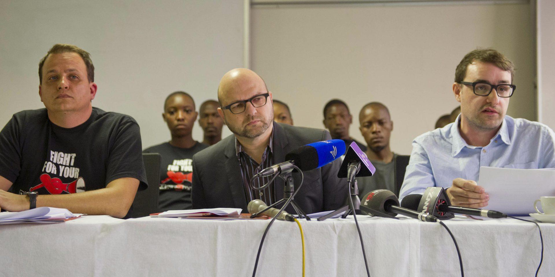 28 August 2014: (From left) Former arms deal critics Hennie van Vuuren, Andrew Feinstein and Paul Holden, in Pretoria. (Photograph by Gallo Images/Foto24/Craig Niewenhuizen)