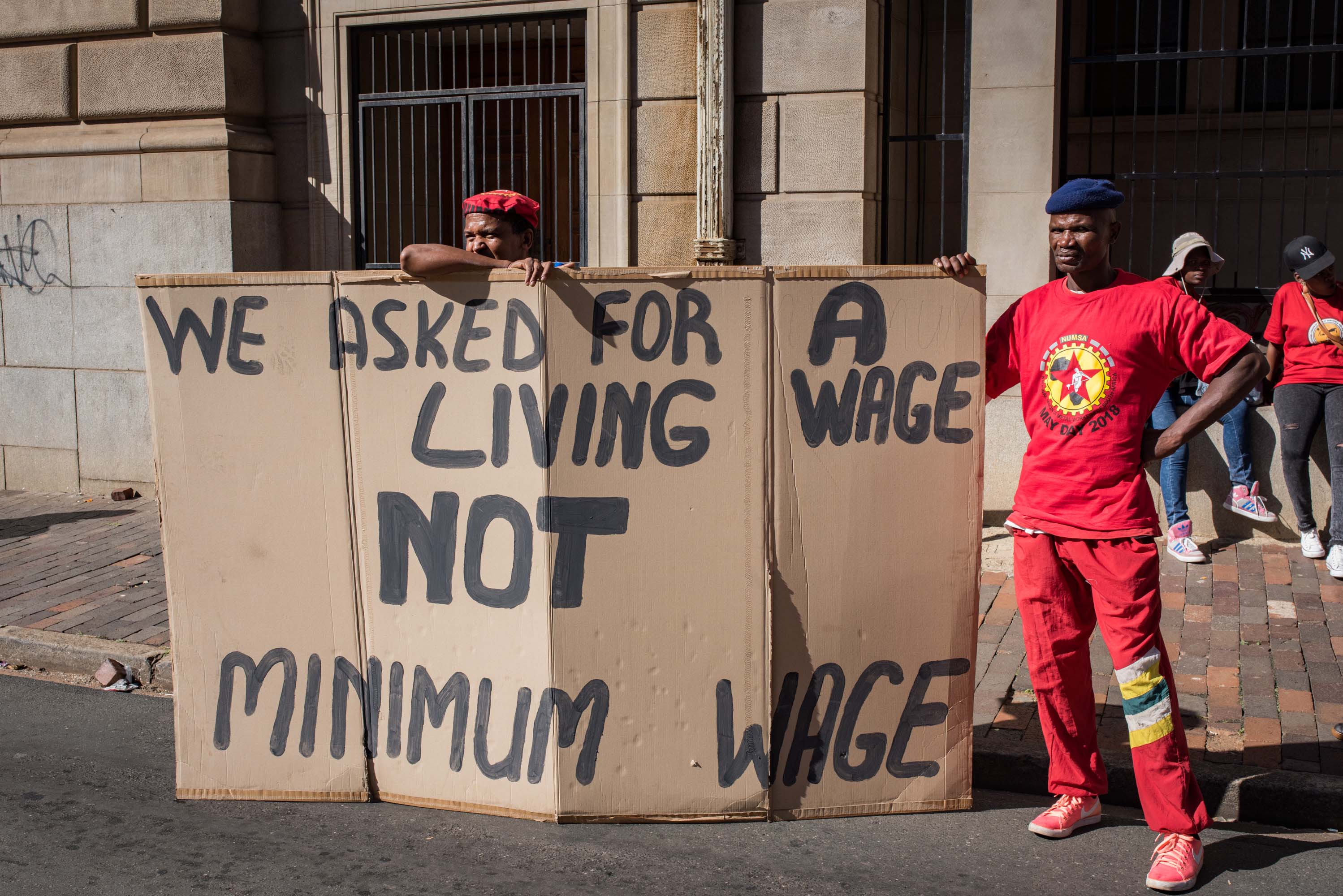 25 April 2018: Thousands of South African Federation of Trade Unions members marched through central Johannesburg as a part of the trade union's national shutdown. Protests against the proposed minimum wage of R20 an hour were held across South Africa.