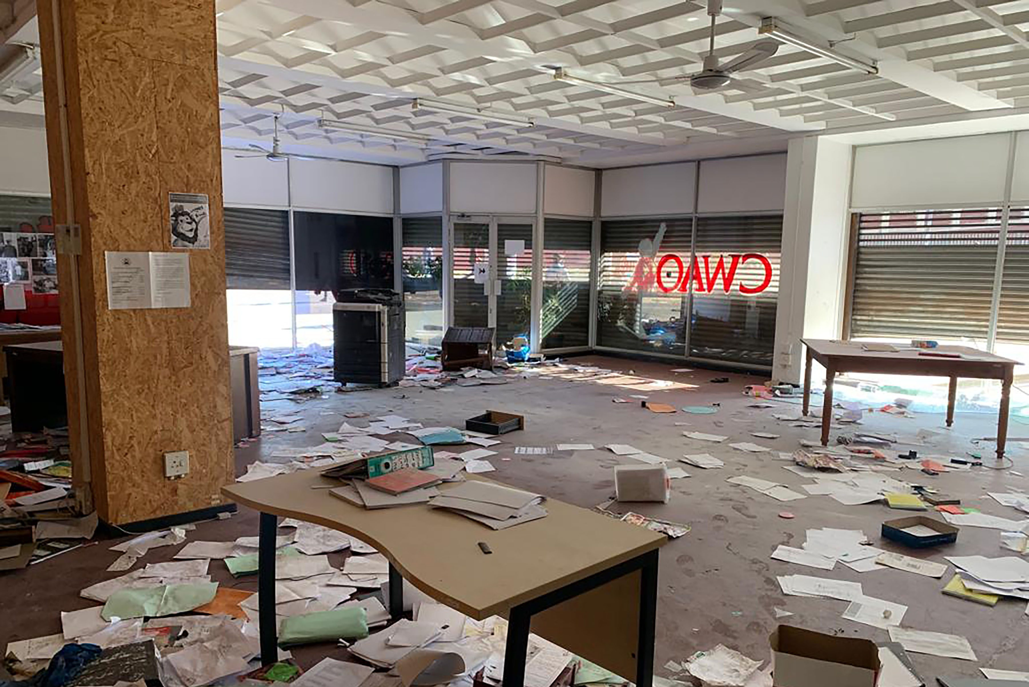 3 September 2019: The interior of the Casual Workers Advice Office in Germiston, which was looted and burned during xenophobic violence this week. (Photograph by Carin Runciman)