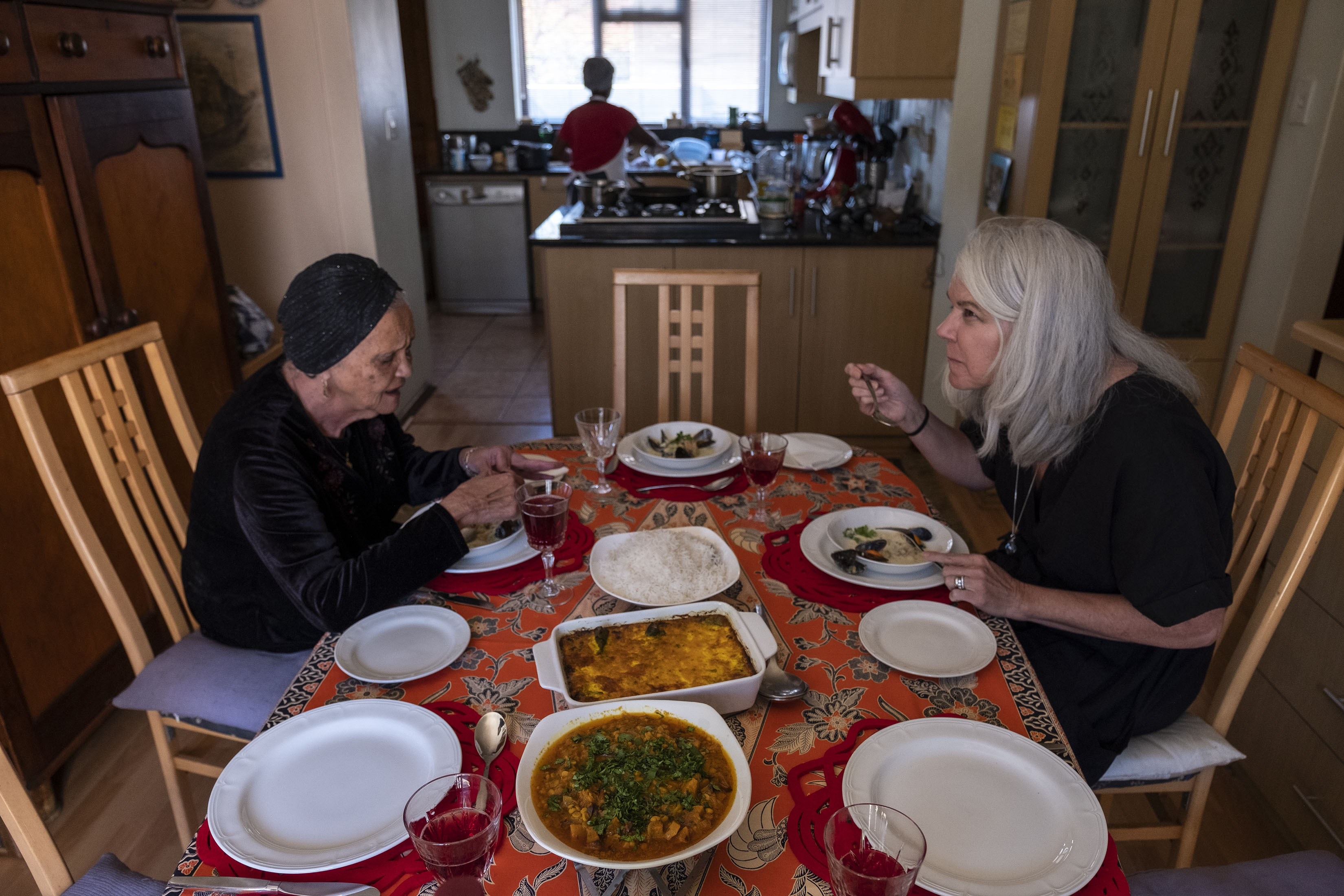 3 September 2019: Cass Abrahams (left) and her student Mary Kluck enjoying the meal they prepared during their lesson.
