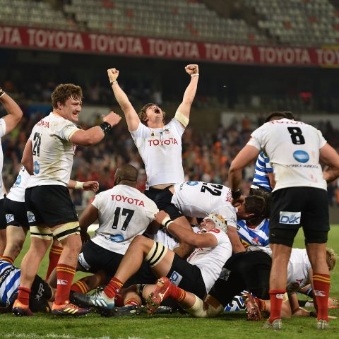 24 August 2019: The Cheetahs celebrate during their Currie Cup game against Western Province at the Toyota Stadium in Bloemfontein. They won 38-33. (Photograph by Johan Pretorius/Gallo Images)