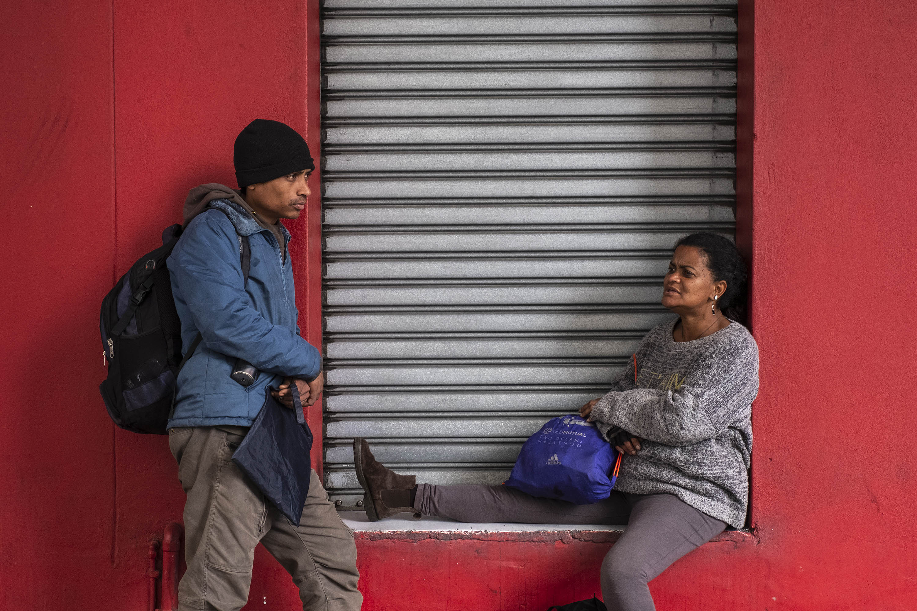 28 August 2019: 'The cops are the people who believe we have no rights at all,' says Carin Gelderbloem (right), pictured here with partner Rameez Kemp in Roeland Street, Cape Town.
