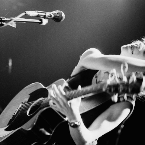 7 December 1996: Ani DiFranco performing at the Melkweg in Amsterdam, The Netherlands. (Photograph by Frans Schellekens/Redferns)
