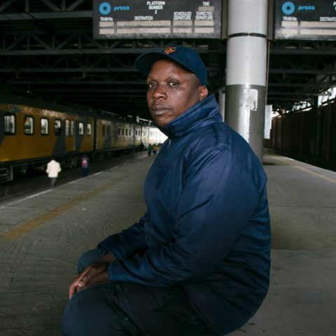 2 October 2019: Edmond Patrick Ndlovu on a platform at the Doornfontein train station. One of his close friends was hit in the head here by an unknown object, leaving him fighting for his life for three months before he died.