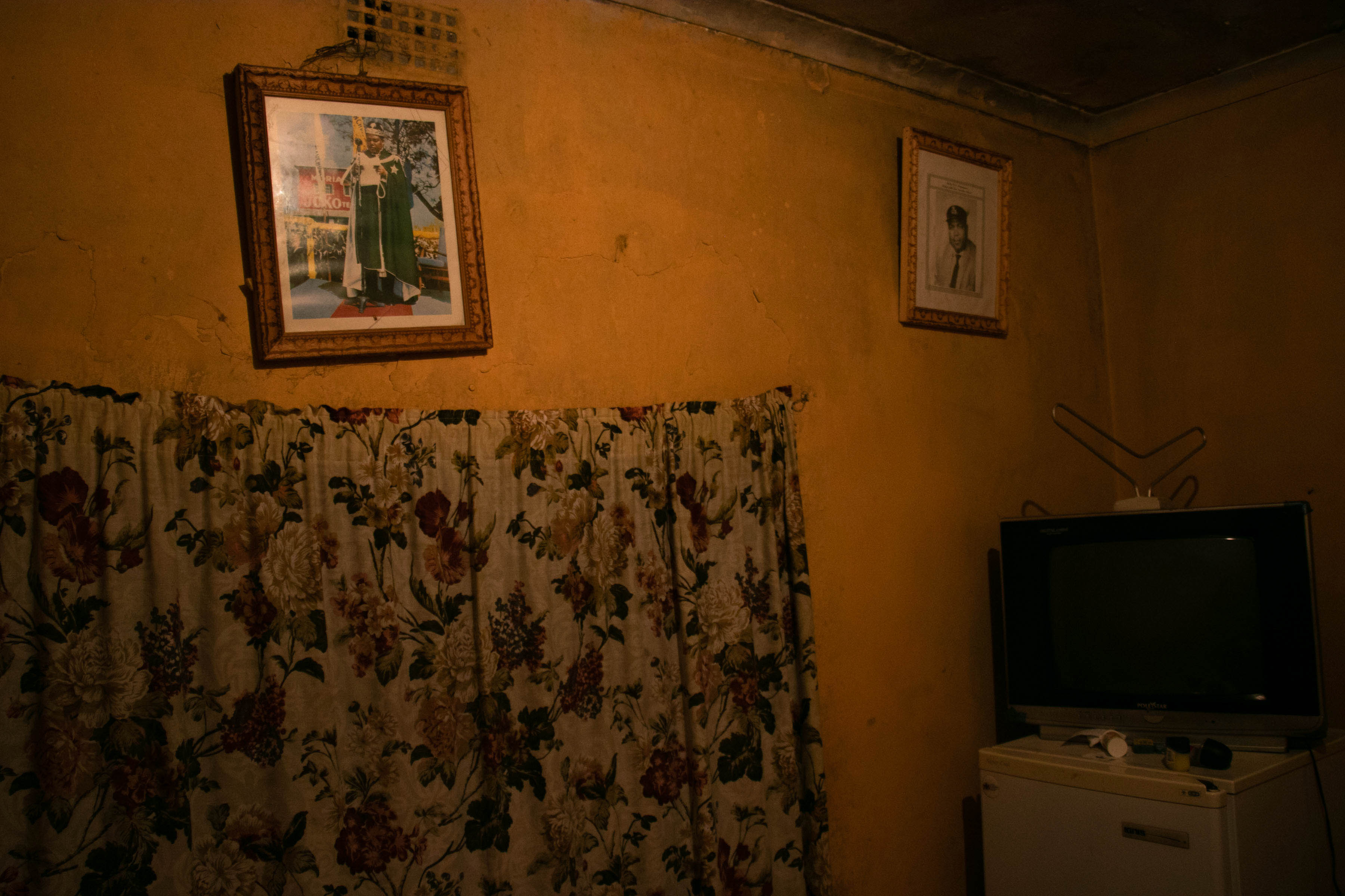 2 October 2019: Edmond Patrick Ndlovu's home is sparsely furnished, with pictures of former Zion Christian Church leader Edward Lekganyane hanging on the walls.