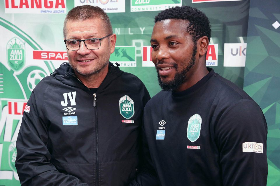 18 September 2019: Jozef Vukusic with Mabhuti Khenyeza during the announcement of the new AmaZulu coach at Moses Mabhida Stadium in Durban, South Africa. (Photograph by Anesh Debiky/Gallo Images)