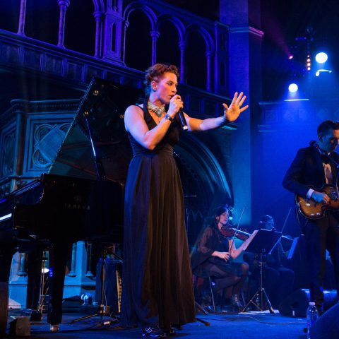 16 November 2017: Amanda Palmer performing with Jherek Bischoff at the Union Chapel in London, England. (Photograph by Lorne Thomson/Redferns)