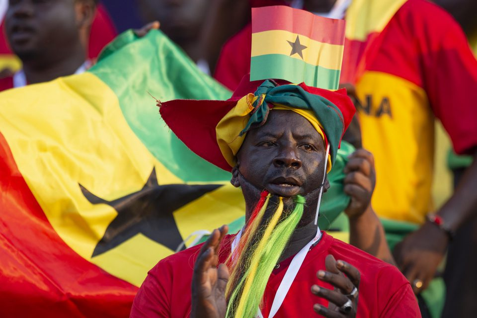 29 June 2019: Ghanaian fans watching their team play Cameroon in the group stage of the 2019 Africa Cup of Nations in Ismailia, Egypt. (Photograph by Visionhaus)