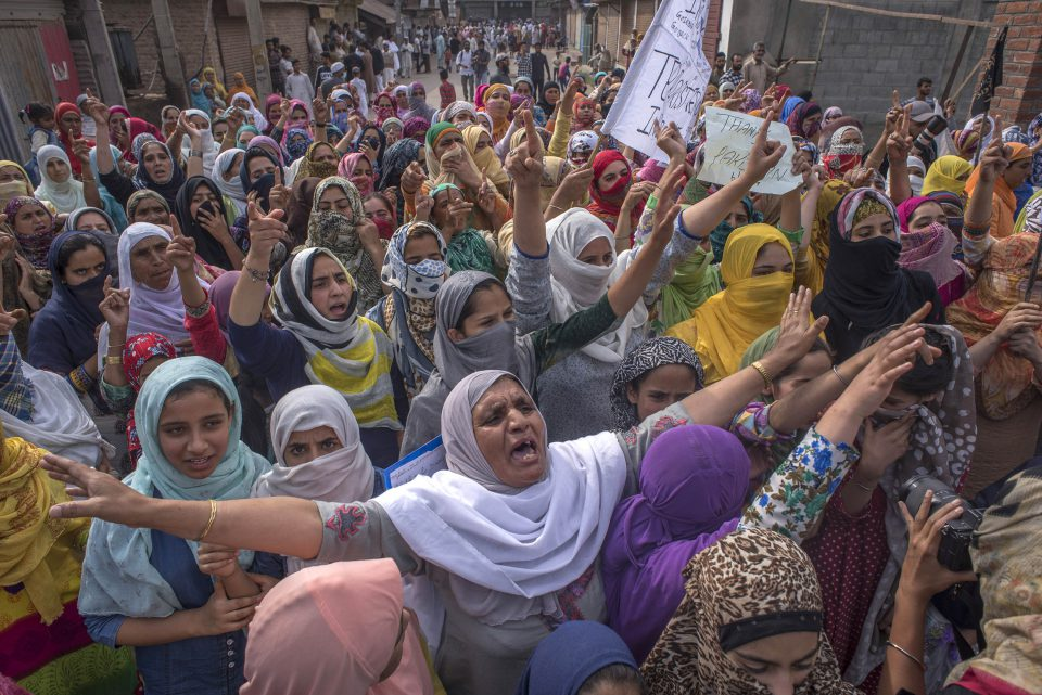 27 September 2019: Kashmiri women protesters shout anti-India slogans during a gathering in Srinagar, the summer capital of Kashmir. (Photograph by Yawar Nazir/ Getty Images)
