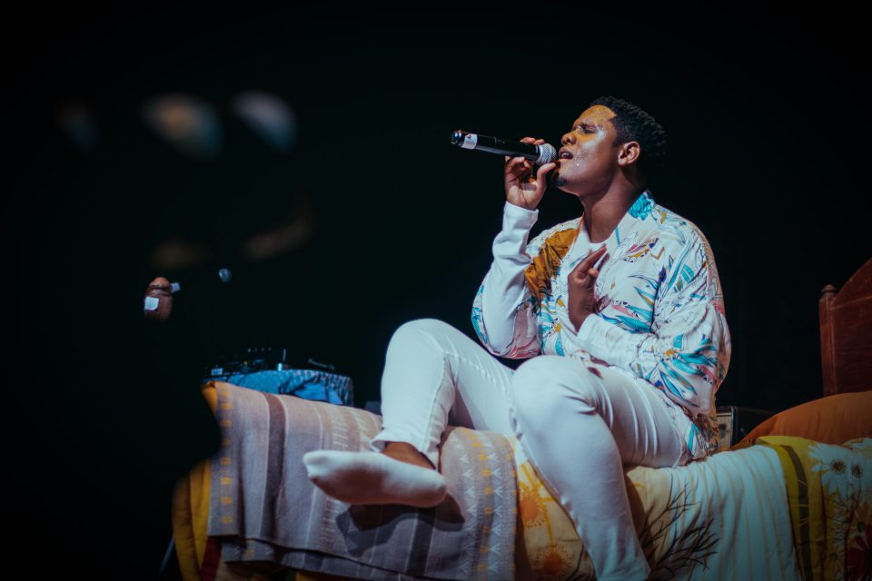 10 October 2019: Musician Samthing Soweto performs during the launch of his album Isphithiphithi at The Market Theatre in Johannesburg. (Photograph by Travis Gross)