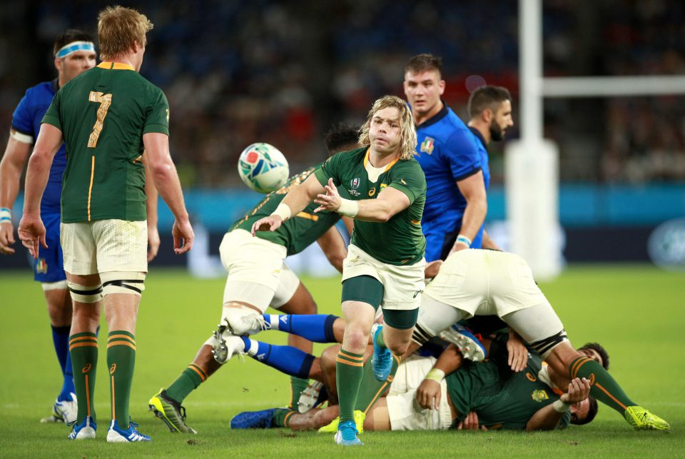 4 October 2019: South African scrumhalf Faf de Klerk during the Springboks' 2019 Rugby World Cup group stage game against Italy at Shizuoka Stadium Ecopa in Fukuroi, Shizuoka, in Japan. (Photograph by Adam Pretty/Getty Images)