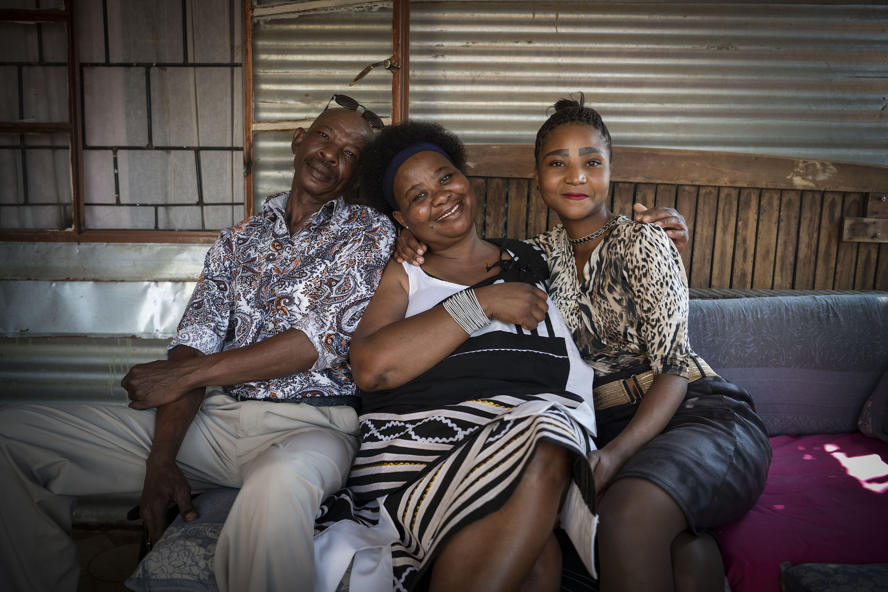 23 September 2019: Poppy Makgobatlou with Prince Ling (left) and Dimakatso Mokotedi (right) from the support group assisting in her recovery.
