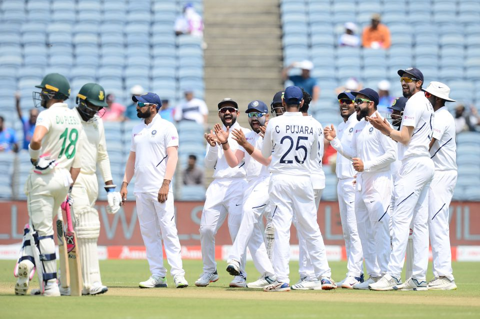 12 October 2019: India celebrates taking the wicket of South Africa's Senuran Muthusamy (second from left) on day three of the second Test of the series at Maharashtra Cricket Association Stadium in Pune, India. (Photograph by Isuru Sameera Peris/Gallo Images)