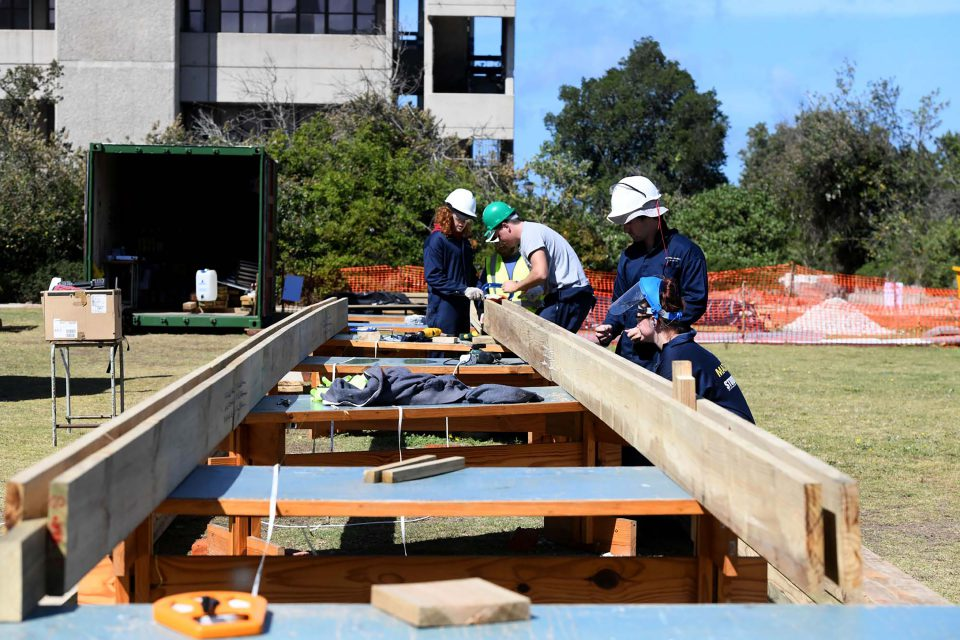 23 September 2019: Architecture students from Nelson Mandela University busy building a new creche for the residents of Airport Valley, a shack settlement in Nelson Mandela Bay.