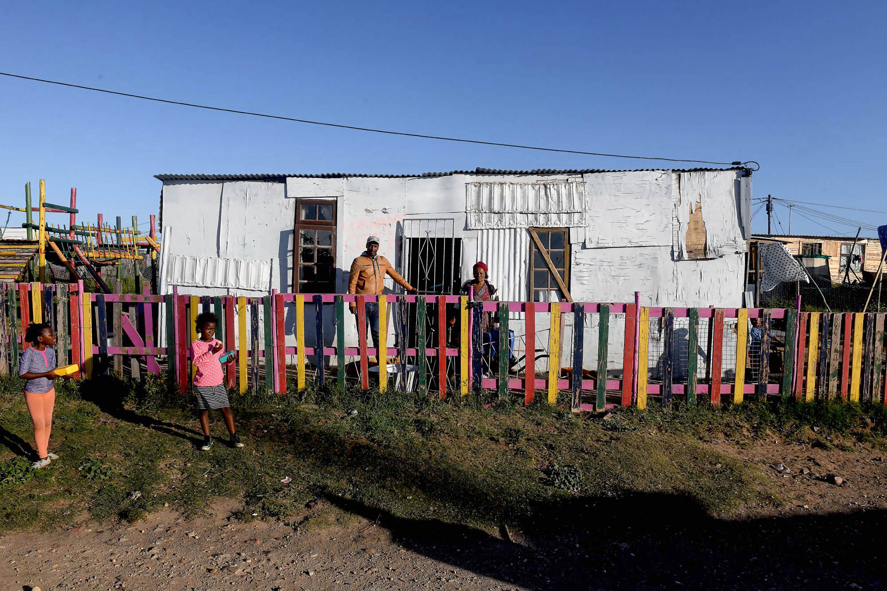23 September 2019: Community leader Zama Mona (left) with Thobeka Mbanda, a creche owner in the shack settlement near the Nelson Mandela Bay airport.