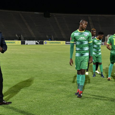 11 December 2019: Baroka FC coach Wedson Nyirenda watching his players warm up before an Absa Premiership game against Mamelodi Sundowns at Lucas Moripe Stadium in Tshwane, South Africa. (Photograph by Lefty Shivambu/Gallo Images)