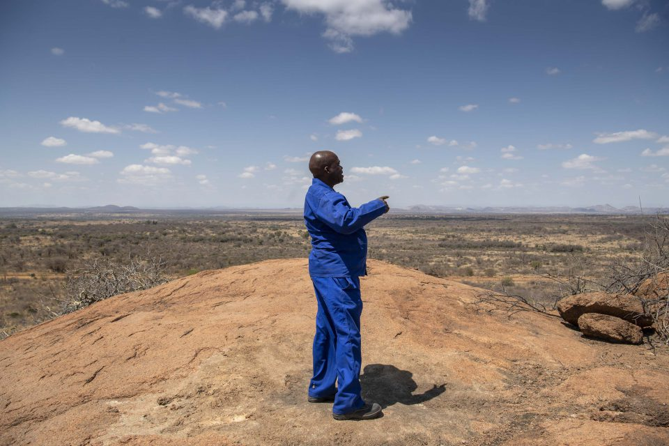 2 October 2019: John Motlhagodi, the current owner of the farm, on top of Moordkop in North West province.