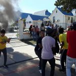 4 September 2019: A student protest at the head office of the Eastcape Midlands Technical and Vocational Education and Training College in Uitenhage. (Photograph by Anna Majavu)