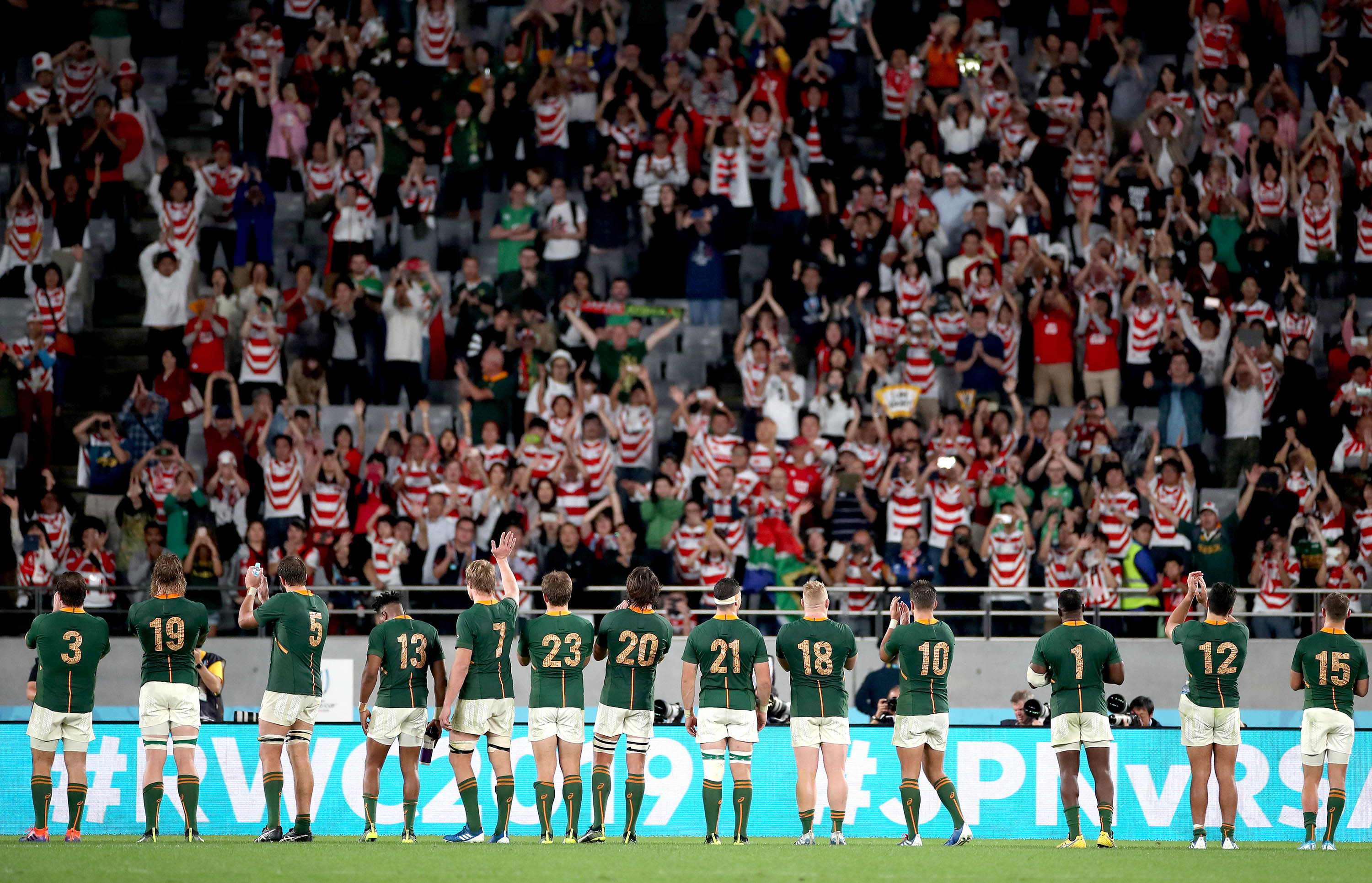 20 October 2019: South African players acknowledging the fans after the Springboks' victory against Japan in the 2019 Rugby World Cup quarterfinal at the Tokyo Stadium in Tokyo, Japan. (Photograph by Cameron Spencer/Getty Images)