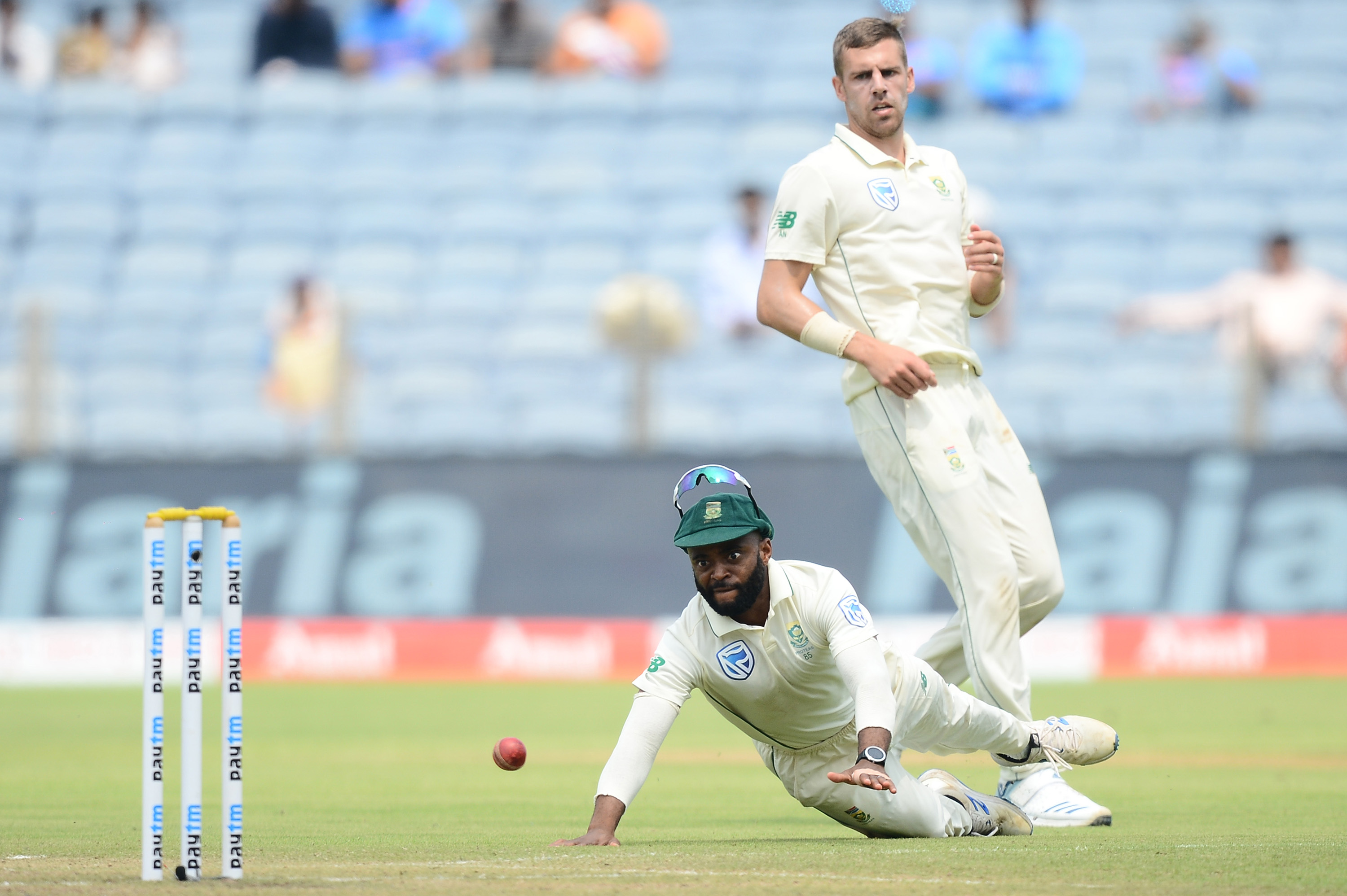 11 October 2019: Temba Bavuma fielding on day two of the Proteas' second Test match against India at the Maharashtra Cricket Association Stadium in Pune, India. (Photograph by Isuru Sameera Peris/Gallo Images)