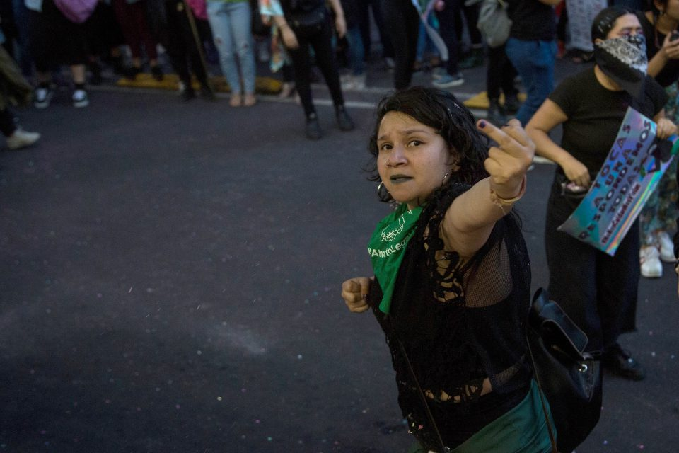 16 August 2019: A woman gestures during a protest against the sexual abuse of women in Mexico City, Mexico. (Photograph by Cristopher Rogel Blanquet / Getty Images)