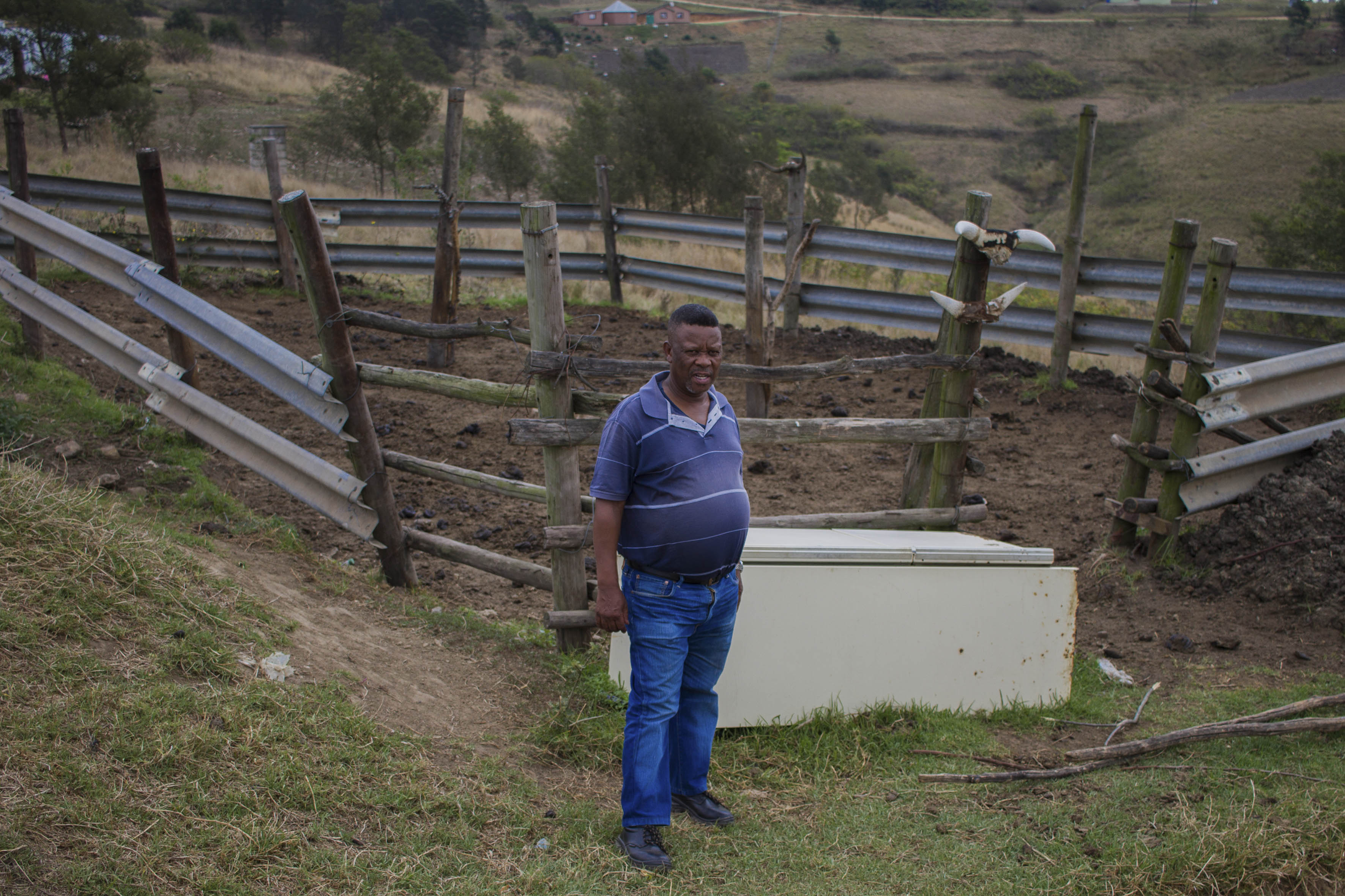 3 October 2019: Gideon Sithembiso Mthembu, an induna from Hlomendlini in Izingolweni, KwaZulu-Natal, standing outside his kraal.