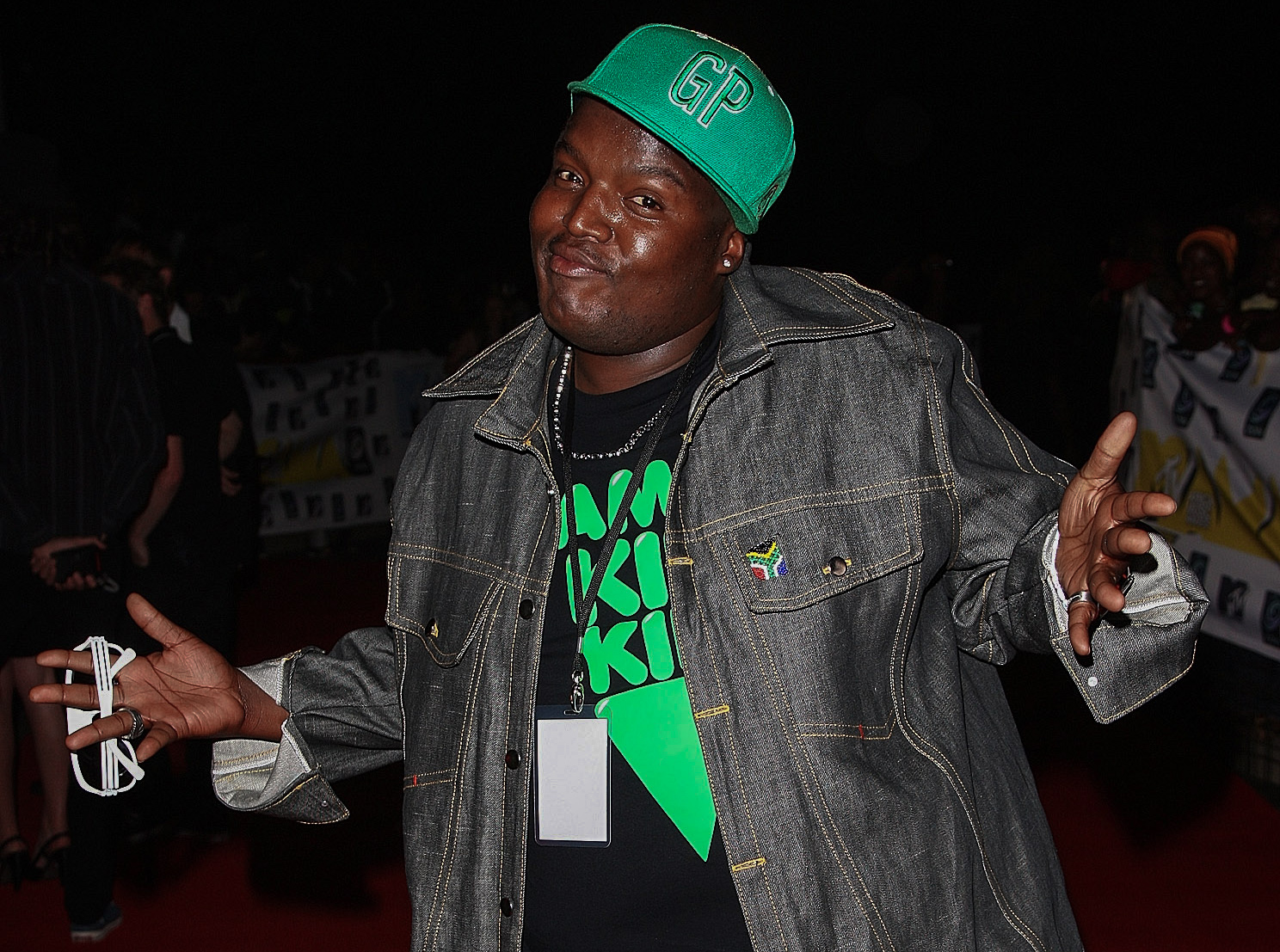 22 November 2008: Hip Hop Pantsula, better known as HHP, arrives for the MTV Africa Music Awards 2008 at the Abuja Velodrome in Abuja, Nigeria. (Photograph by Gareth Cattermole/Getty Images)