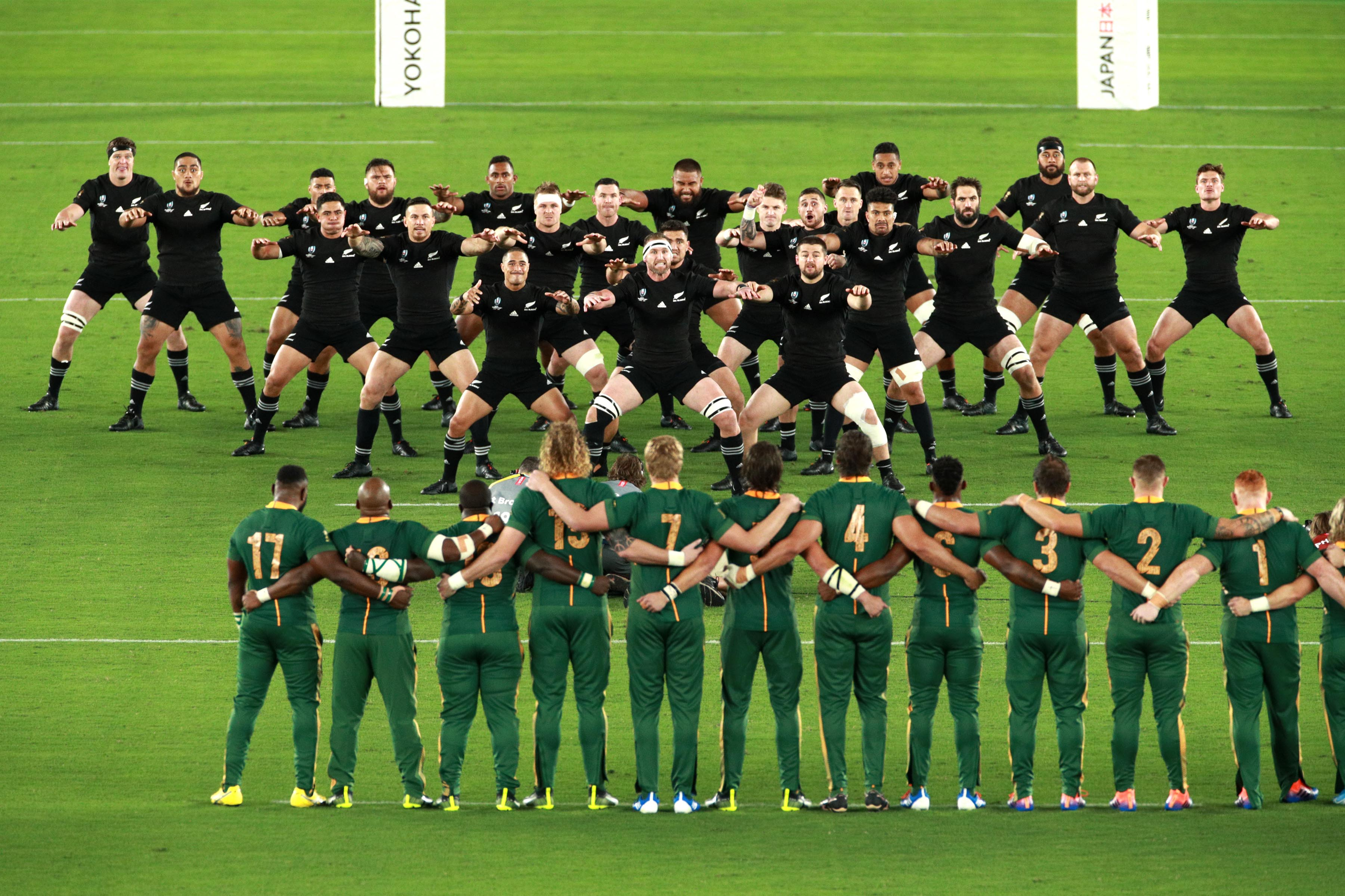 21 September 2019: The Springboks face New Zealand as they perform the Haka prior to their 2019 Rugby World Cup group stage game at the International Stadium Yokohama in Yokohama, Kanagawa, Japan. (Photograph by Adam Pretty/Getty Images)