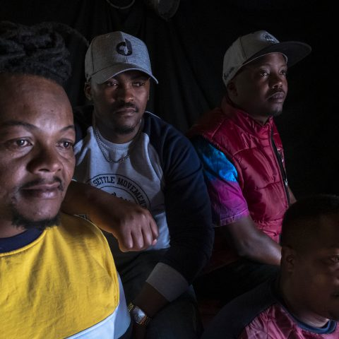12 October 2019: Monde Nkosi (left) with clothing label Deep Settle Movement founders Christopher Mayiji (second from left), Asanda Qumelwana and Fezile Retyu (front).