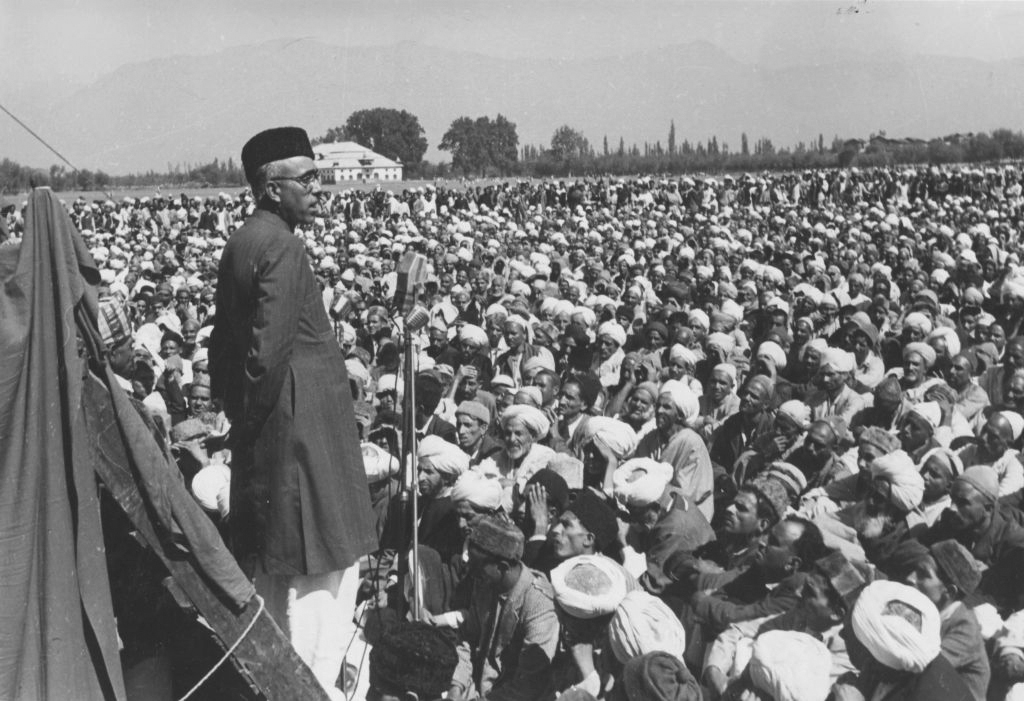 1949: Sheikh Abdullah, leader of the Jammu and Kashmir government in Srinagar, addressing a meeting in Gandhi Park. (Photograph by Keystone Features/Getty Images)