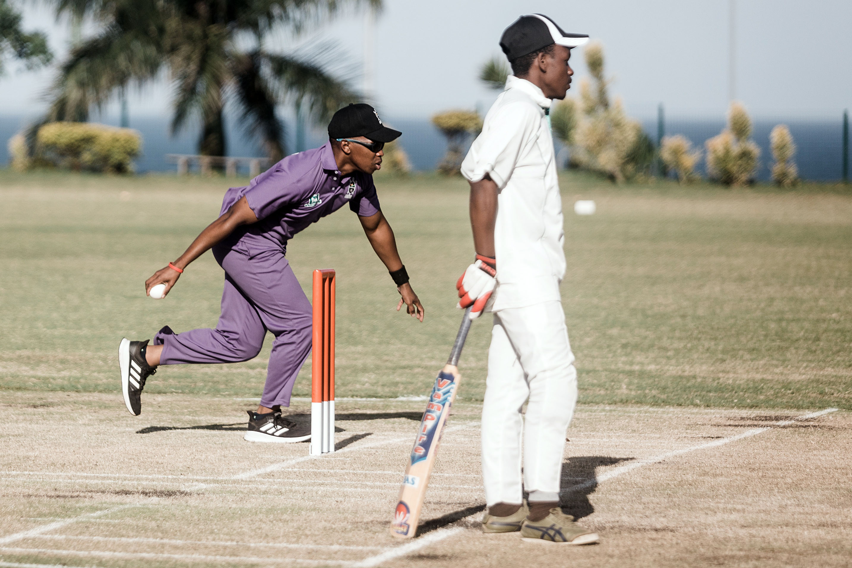 25 September 2019: Kwazulu-Natal vice captain Ndu Mkhize bowls during the 2019 Blind National Cricket Tournament at Northwood Boys High in Durban. Partially sighted and blind players use a softer, plastic ball that rattles.