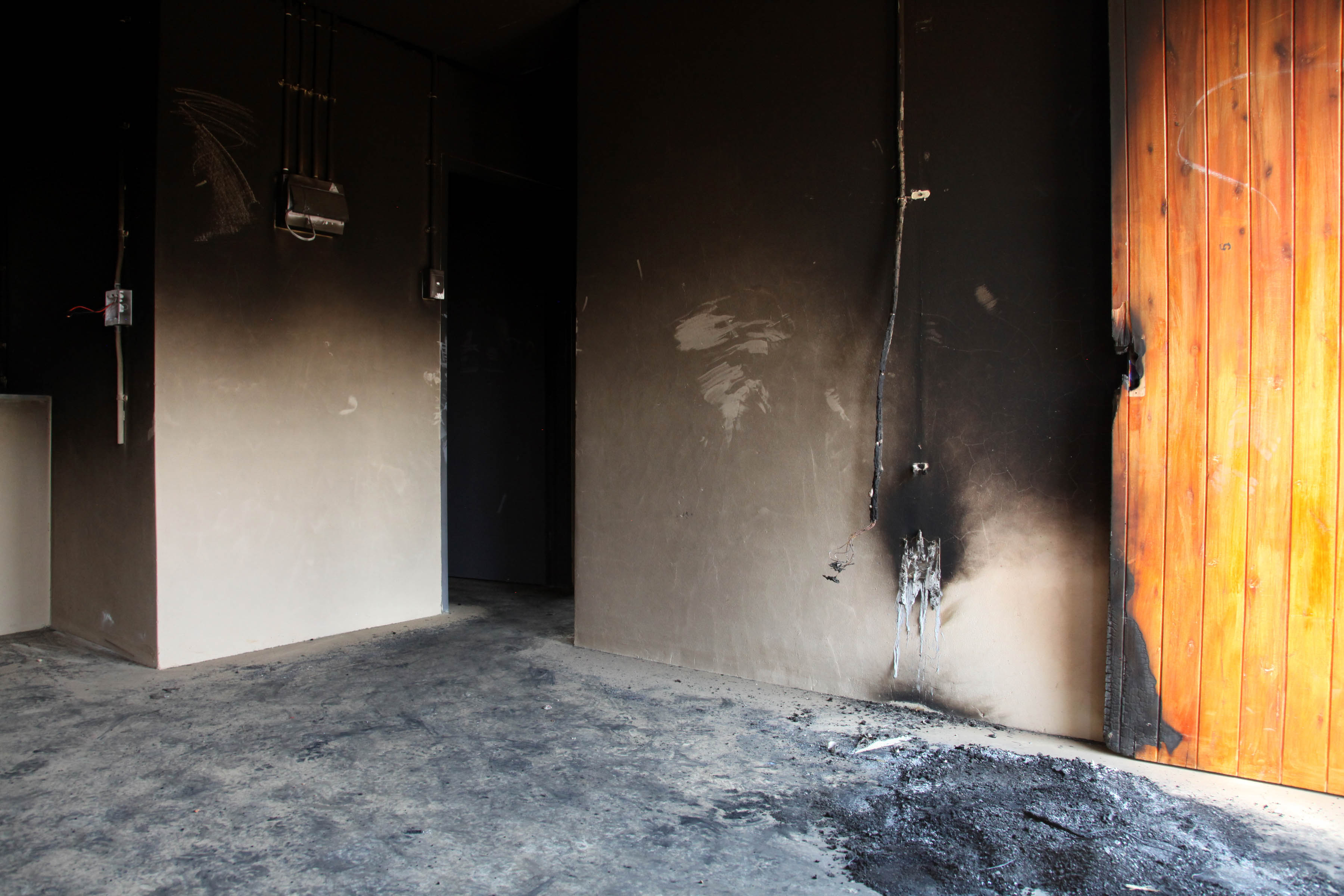 08 August 2019: The remains of an RDP house that was allegedly torched by angry residents at Palm Ridge.