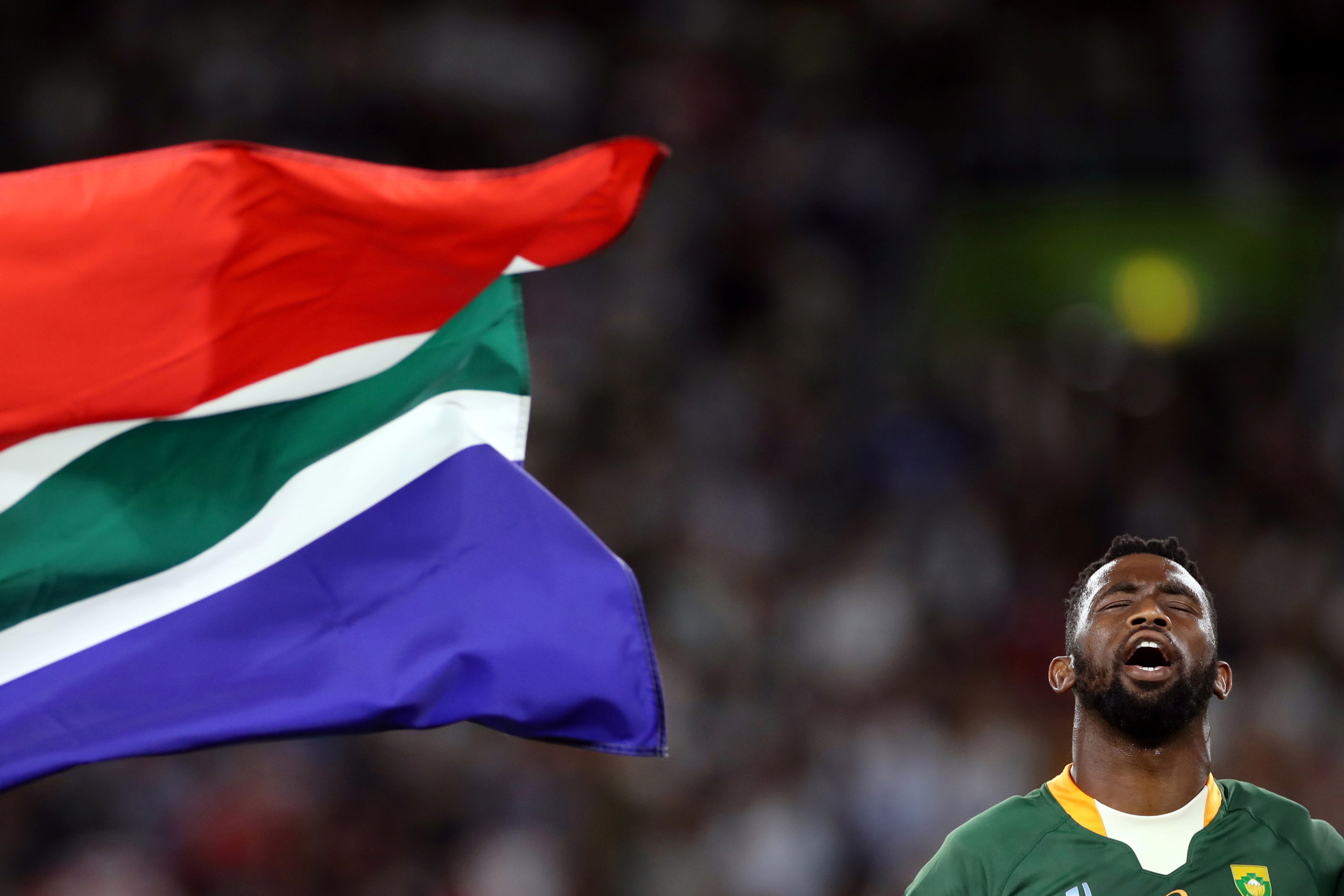 4 October 2019: South Africa's Siya Kolisi during the national anthem before the Rugby World Cup match with Italy at the Shizuoka Stadium Ecopa in Japan. (Reuters/Peter Cziborra)