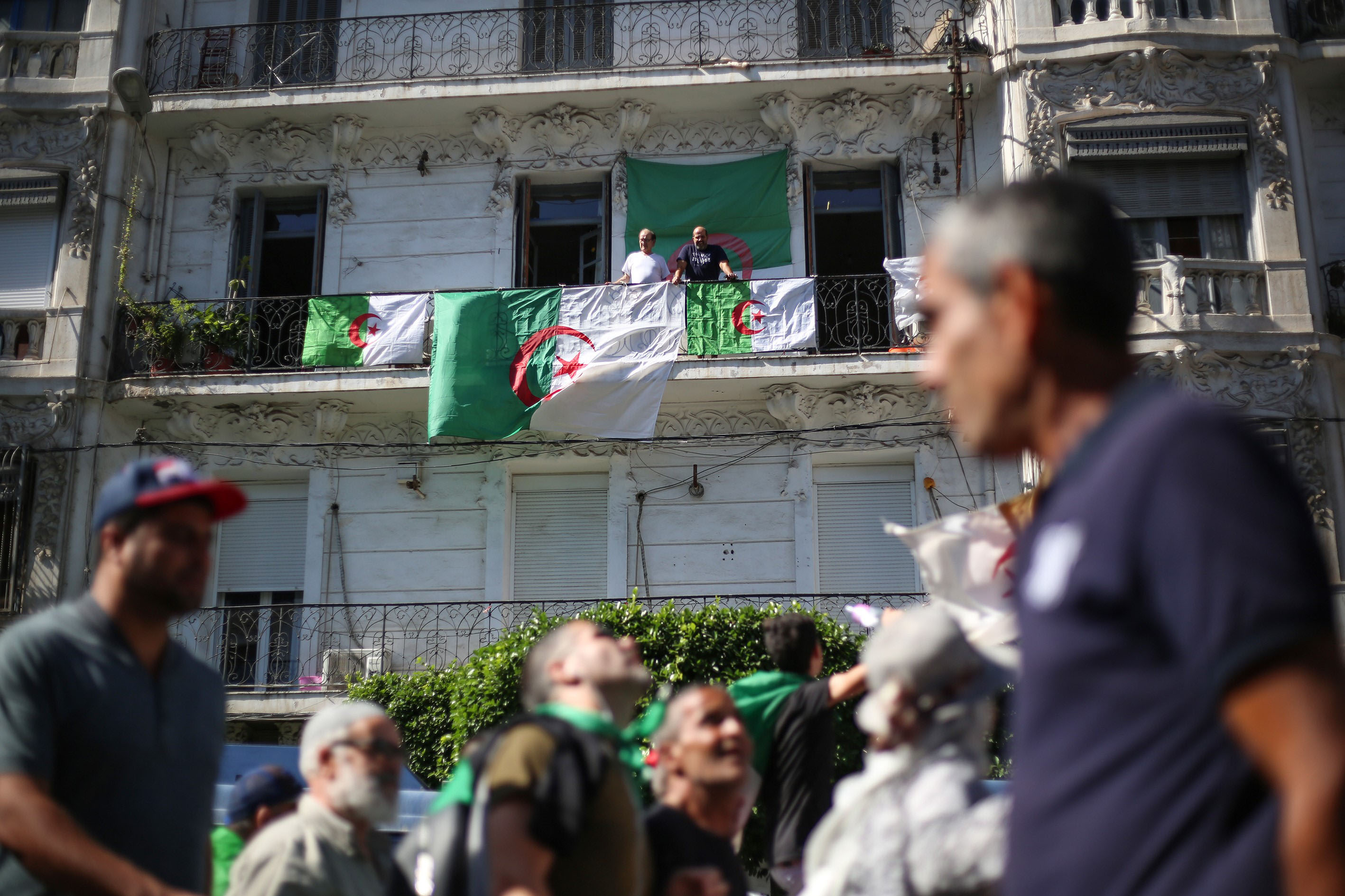 4 October 2019: Algerians demonstrating in Algiers to demand that regime officials, who continue to work despite the resignation of former president Abdelaziz Bouteflika, step down. (Photograph by Mustafa Hassona/Anadolu Agency via Getty Images)