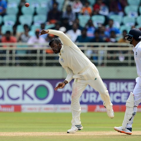 3 October 2019: South Africa's Senuran Muthusamy delivers the ball during day two of the first Test against India at Dr YS Rajasekhara Reddy ACA VDCA Cricket Stadium in Visakhapatnam, India. (Photograph by Isuru Sameera Peris/Gallo Images)