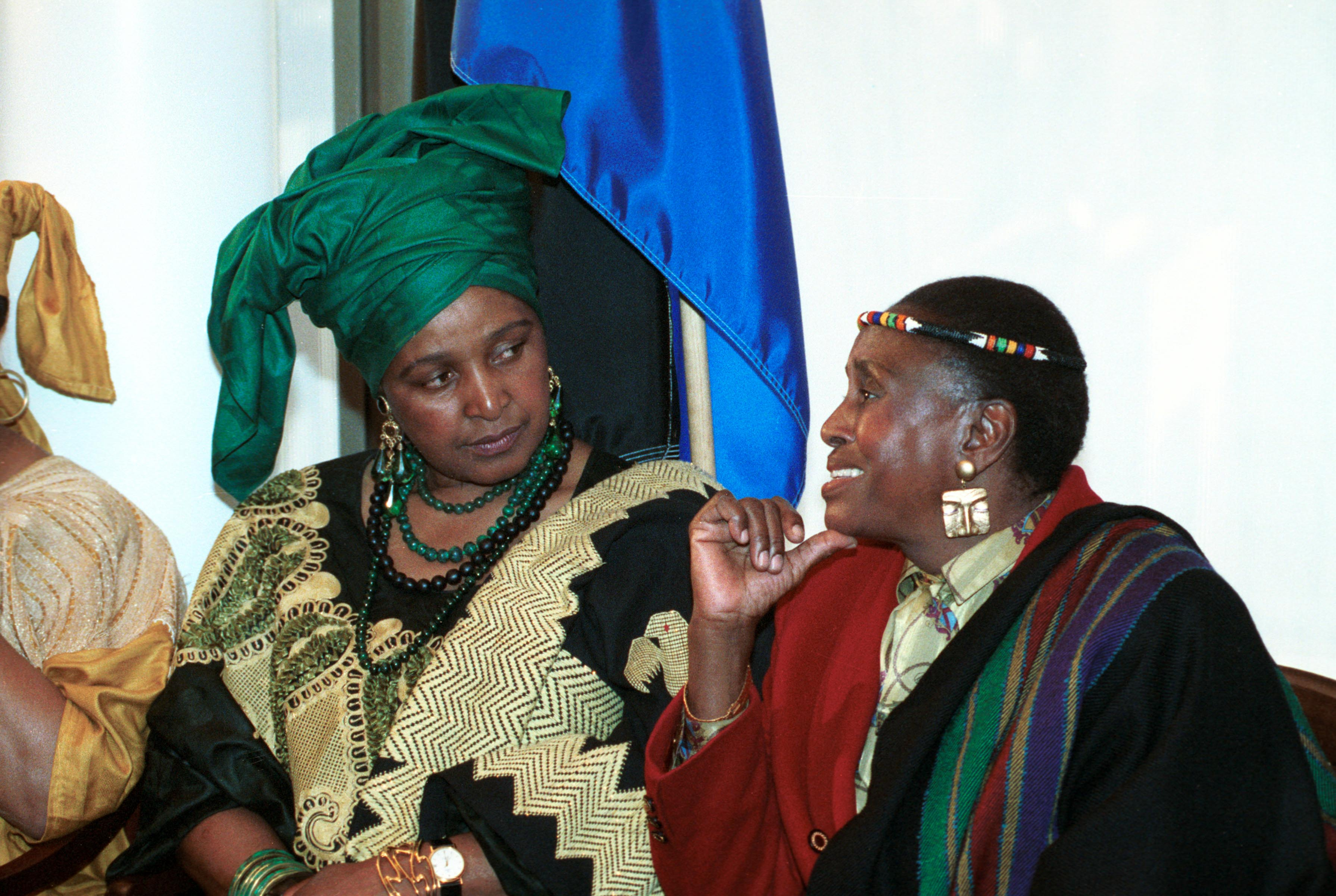 6 November 1991: Winnie Madikizela-Mandela talking to singer Miriam Makeba at the announcement of a three-day concert and summit to aid African children.